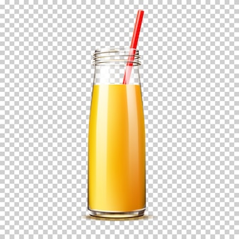 Botella de jugo de naranja realista con pajita sin tapa sobre fondo transparente