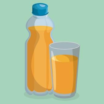 Botella de jugo y vaso