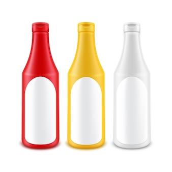 Botella de ketchup de mostaza de mayonesa amarilla roja blanca de plástico en blanco para marcar con etiqueta