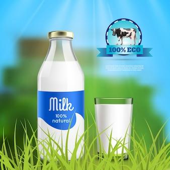 Botella de leche y vidrio en la naturaleza.