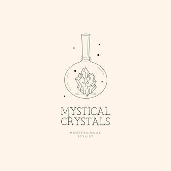 Botella y logo de cristal