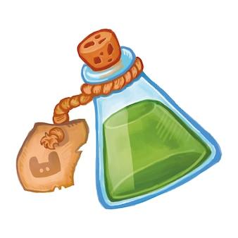 Botella mágica con el icono de la poción verde. elixir de brujería de ilustración de dibujos animados