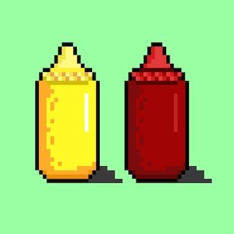 Botella de mayonesa y salsa con estilo pixel art