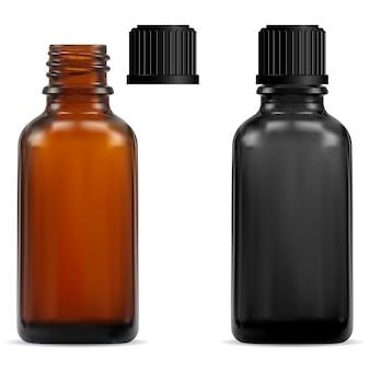 Botella médica de vidrio marrón
