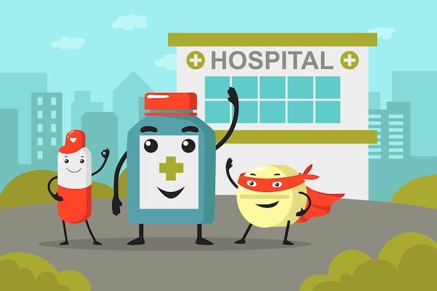 Botella de medicina y personajes de dibujos animados de píldoras frente al hospital