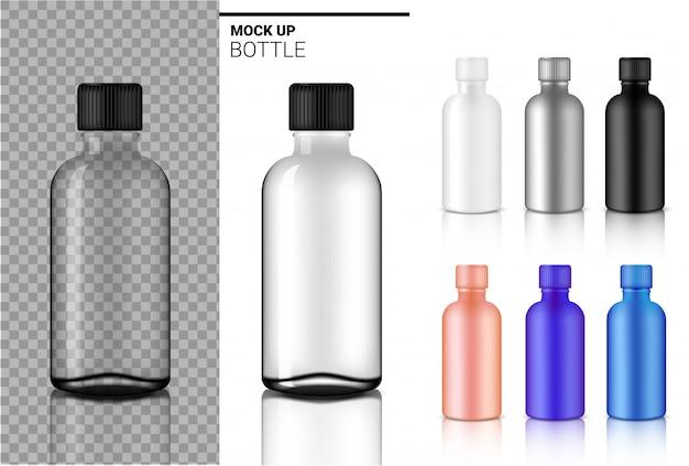Botella mock up realista transparente blanco, negro y ampolla de vidrio o gotero de plástico embalaje
