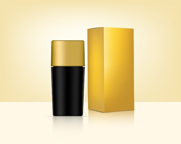 Botella mock up realistic gold cosmetic y caja