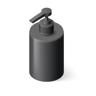 Botella negra isométrica con jabón líquido sobre fondo blanco.