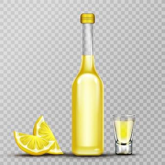Botella de oro de lemoncello y vaso de chupito