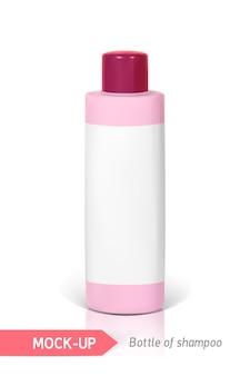 Botella pequeña de champú rosa con etiqueta
