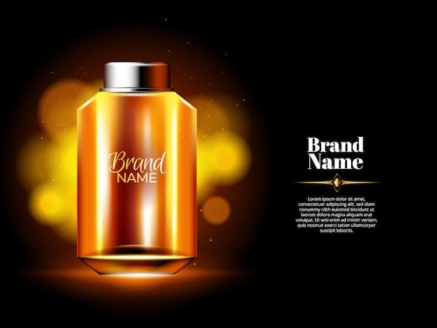 Botella de perfume de aceite con fondo dorado y luces