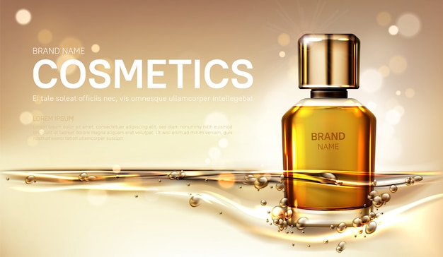 Botella de perfume de aceite con líquido dorado