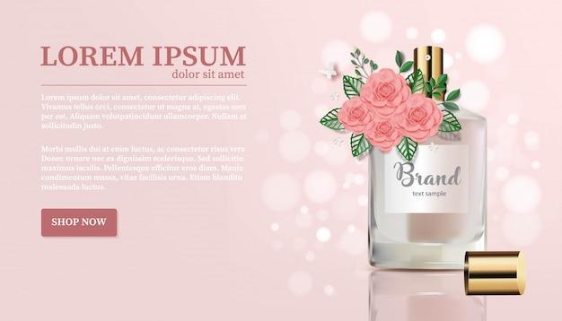 Botella de perfume con bouquet - flor rosa y mariposa sobre fondo de melocotón- paper cut banner