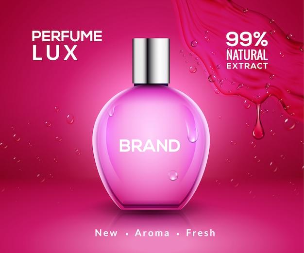 Botella de perfume de diseño de vidrio. envase cosmético de belleza cuidado femenino. diseño de producto de perfume.