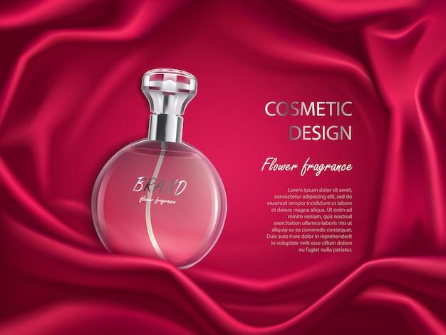 Botella de perfume, flor fragancia diseño cosmético banner