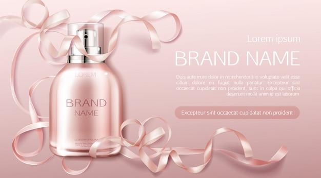 Botella de perfume flor fragancia diseño cosmético