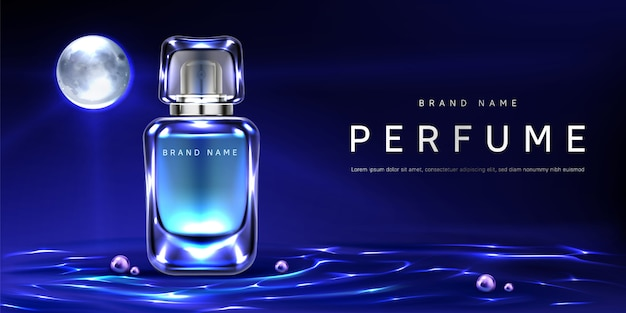 Botella de perfume en el fondo de la superficie del agua de noche