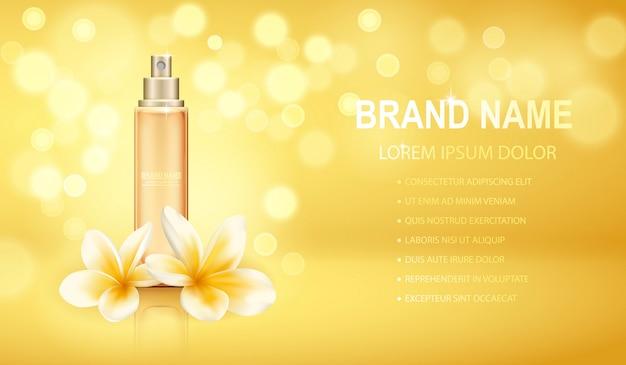 La botella de perfume realista amarilla aislada en el fondo chispeante de los efectos con plumeria florece.
