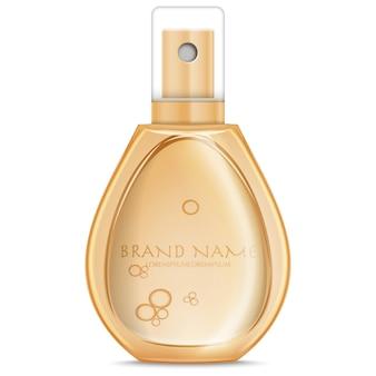 Botella de perfume realista color melocotón aislado en blanco