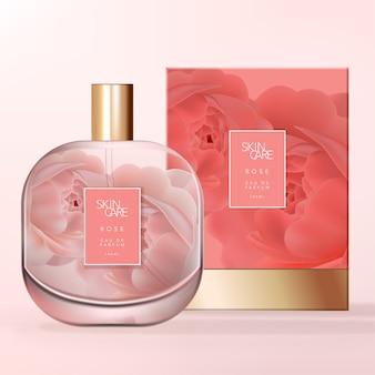 Botella de perfume de vidrio transparente de forma cuadrada con esquina redondeada con patrón de rosas impreso en el panel posterior. caja de cartón rígido con base de lámina de oro.