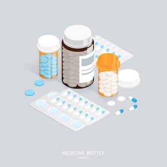 Botella de píldoras de medicina isométrica