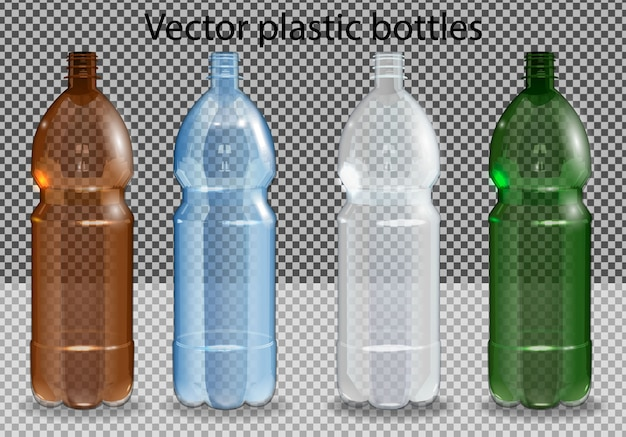 Botella de plástico con agua mineral en alfa transparente. foto realista botella