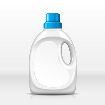 Botella de plástico en blanco para detergente para ropa, fondo blanco, ilustración