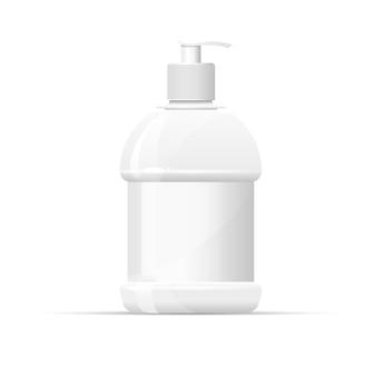 Botella de plástico en blanco con dispensador de jabón líquido.