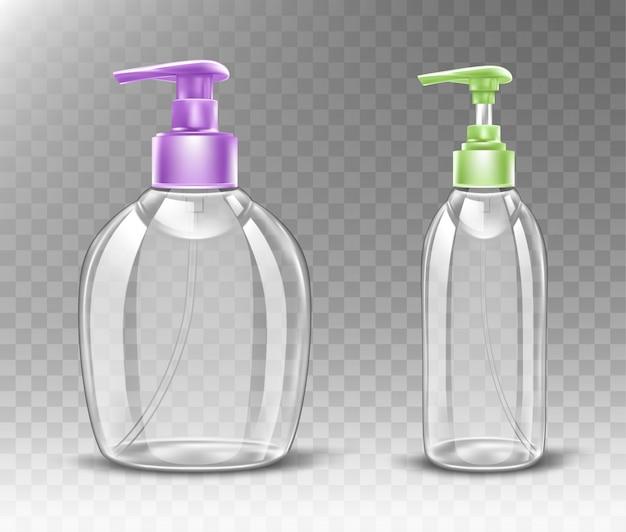Botella de plástico con bomba dispensadora de jabón líquido.
