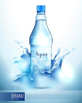 Botella de plástico en cartel de salpicaduras