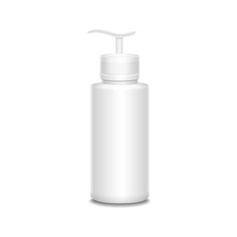 Botella de plástico con una ilustración de aerosol aislado en blanco