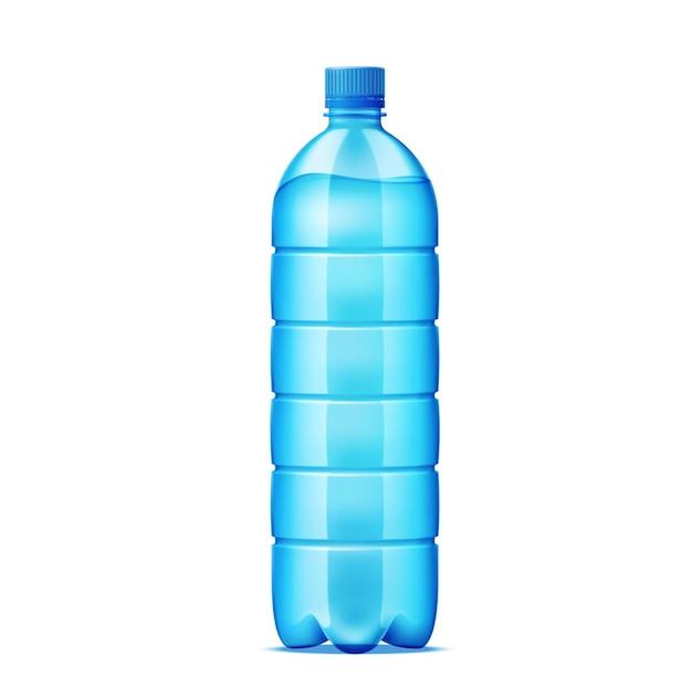 Botella de plástico realista para el diseño de suministro de agua. recipiente de reciclaje de bebidas frescas.