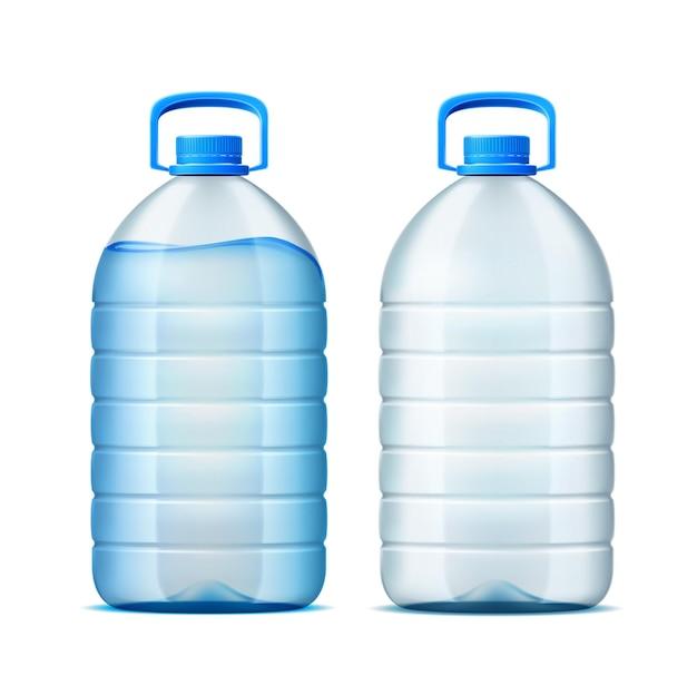 Botella de plástico realista para el diseño de suministro de agua