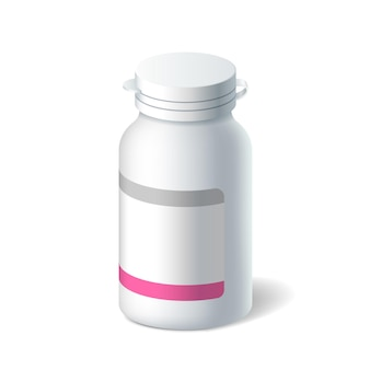 Botella de plástico realista para pastillas, medicamentos líquidos, analgésicos, vitaminas o medicamentos.