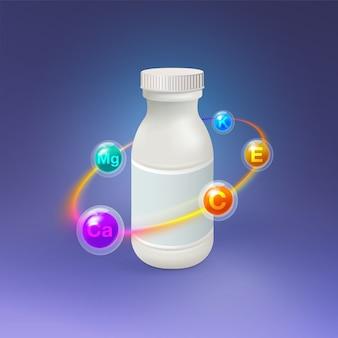 Botella de plástico de vitamina realista.