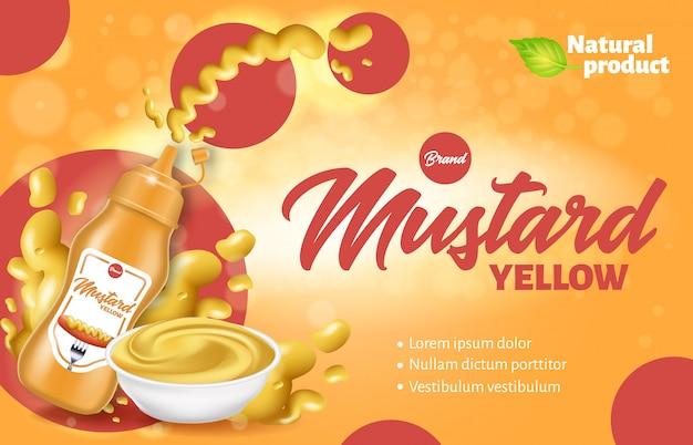 Botella y plato de mostaza con banner de anuncio de producto