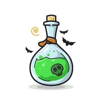 Botella de poción de calavera ilustración de arte de línea linda de halloween