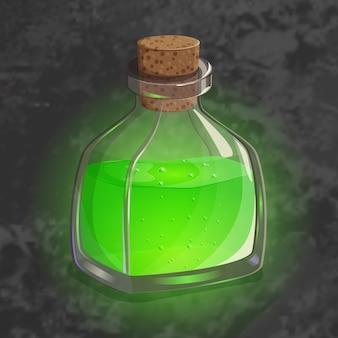 Botella con poción verde. icono de juego del elixir mágico.