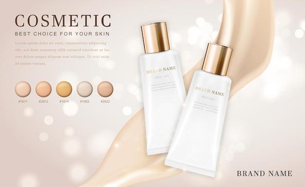 Botella de producto de base de ilustración de maquillaje cosmético 3d con elegante cremoso brillante