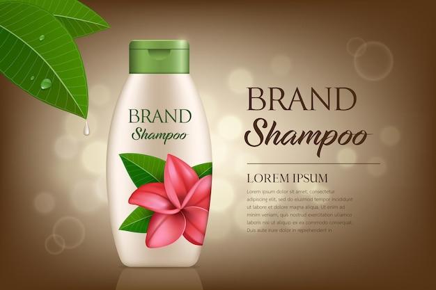 Botella de producto de champú crema con diseño de plantilla de flor de plumeria de tapa verde sobre fondo de bokeh