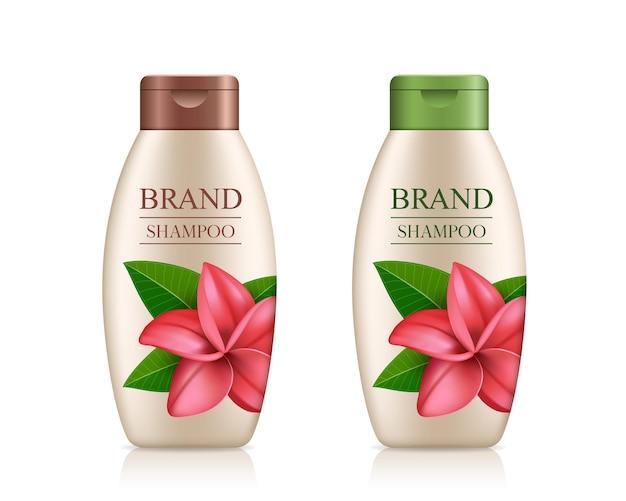 Botella de producto de champú crema con tapa colorida diseño de plantilla de flor de plumeria aislado
