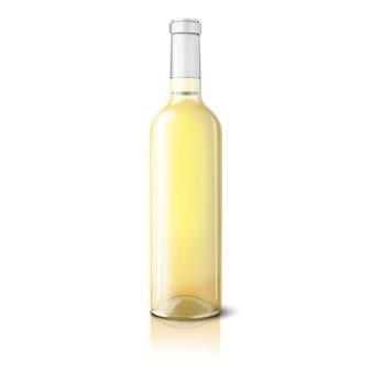 Botella realista en blanco para vino blanco aislado sobre fondo blanco.