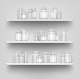 La botella realista del espacio en blanco de la medicina 3d para las píldoras en la tienda de la farmacia exhibe los estantes