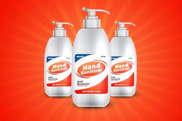 Botella realista de gel o líquido desinfectante para manos