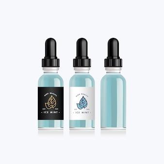 Botella realista con sabores de vainilla y almendra para un cigarrillo electrónico. frasco gotero con diseño de etiquetas blancas o negras. ilustración.
