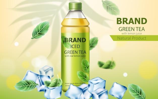 Botella realista de té verde helado natural