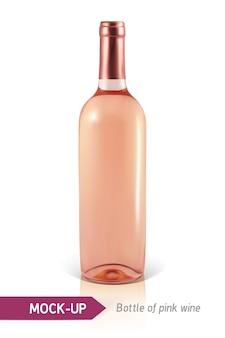 Botella realista de vino rosado sobre un fondo blanco con reflejo y sombra. plantilla para etiqueta de vino.