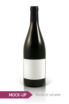 Botella realista de vino tinto sobre un fondo blanco con reflejo y sombra
