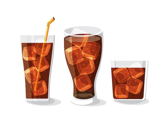 Botella de refresco y conjunto de vidrio ilustración