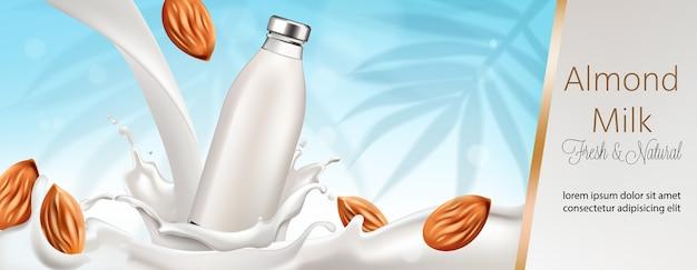Botella rodeada y llena de leche y almendras.